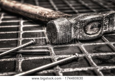 An image of hammer and nails on white