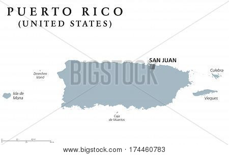 Puerto Rico political map with capital San Juan. Commonwealth and country, also called Porto Rico. Unincorporated territory of the United States. Gray illustration over white. English labeling. Vector