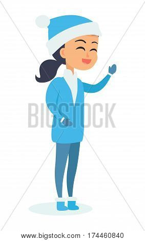 Isolated standing girl with black hair and in Snow-maiden costume on white. Vector illustration of smiling male person with closed eyes in New Year character spending winter holidays outside.