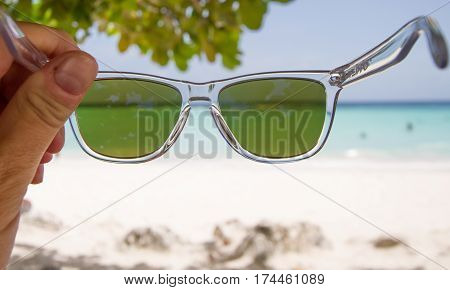 Looking at Worthing Beach in Barbados through Sunnies