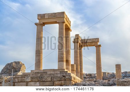 Ancient column in Acropolis of Lindos. Rhodes, Dodecanese Islands, Greece