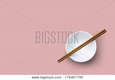 Top View Of Chopsticks With Bowl On Pink Background.