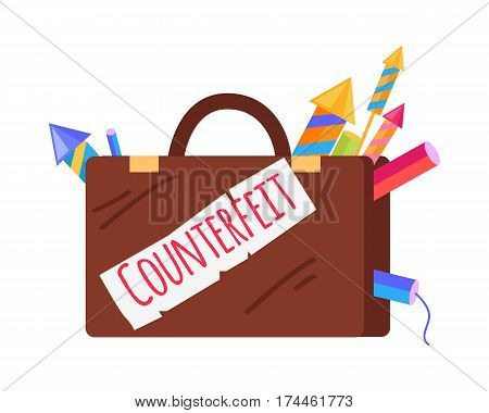 Counterfeit brown case with pyrotechnics isolated on white. Vector cartoon illustration of suitcase with inscription and peeping out bright fireworks. Dangerous elements for New Year celebration