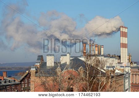 Pipes of Samara Thermal Power Plant - former State district power station
