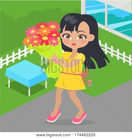 Girl holds bouquet of flowers in her hands at yard. Little girl has leisure time. School girl during break. Young lady at playground, with favourite flowers. Daily activity. Vector illustration