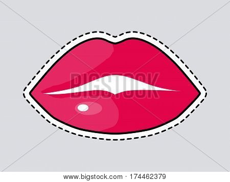 Red full woman lips. Cut it out. Kiss. Illustration of isolated mouth in cartoon style. Closed lips. Painted part of female human face by florid lipstick. Patch. Bright makeup. Flat design. Vector
