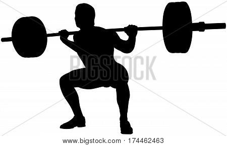 young athlete powerlifter squat in powerlifting black silhouette