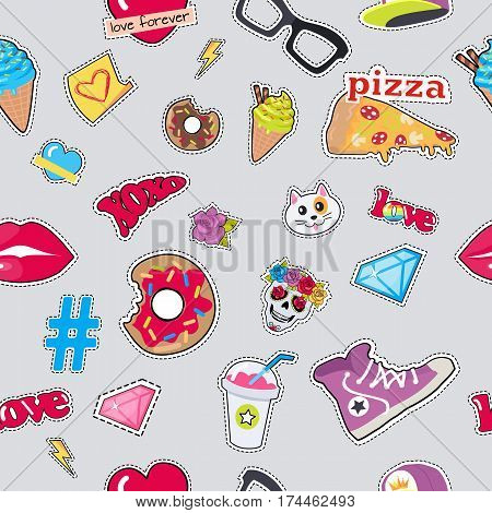 Male colourful rap cap, violet sport footwear, pizza, bitten doughnut, muzzle of cat, human skull with flower, diamond, lips, glasses, ice cream, love, cocktail, thunder sign hashtag seamless pattern