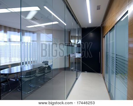 hallway with a view to a meeting room
