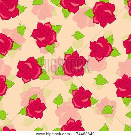 Red rose with green leaves seamless pattern. Illustration of isolated big blossoms in cartoon style walllpaper, wrapping paper. Fashion decoration endless texture. Floral embellishment. Vector