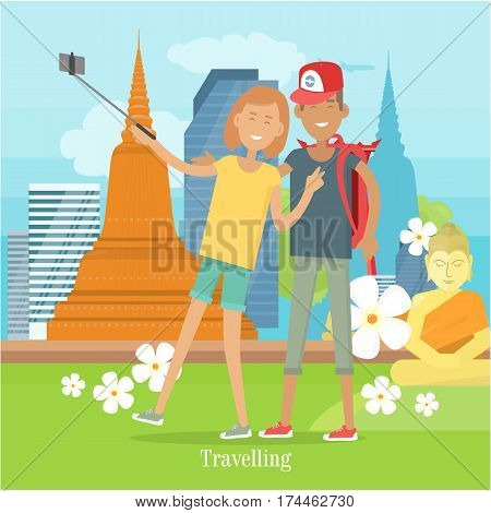 Couple makes selfie in tropical country. Happy boy and girl in casual clothes making photo. Man and woman with selfie stick. Selfie concept vector illustration. Flat style design. Couple in love.