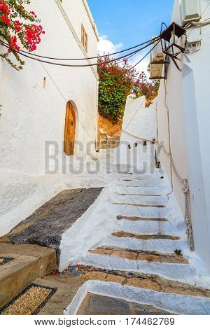 The door and house in the village of Lindos in Rhodes, Greece