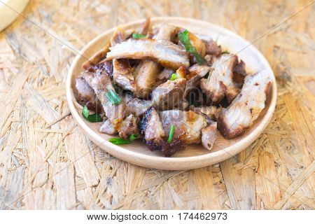 charcoal boiled pork neck grill pork (Thai style food)