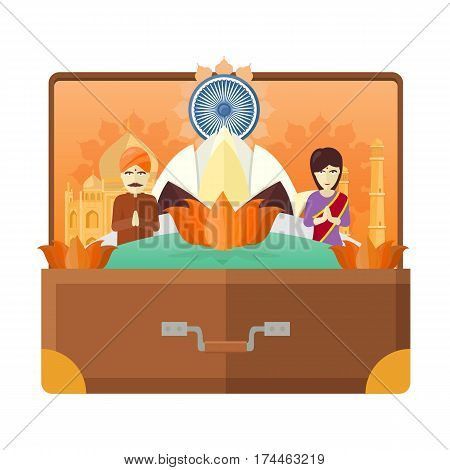India tourism poster design with attractions. Open suitcase with india landmarks. Indians in traditional dress. India travel poster design in flat. Travel composition with famous landmarks.