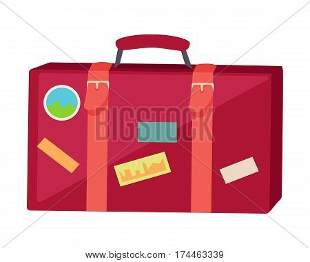 Suitcase with travel stickers isolated on white background. Red leather suitcase with different marks. Travelling conceptual banner. Business travel concept. Vector illustration in flat style.