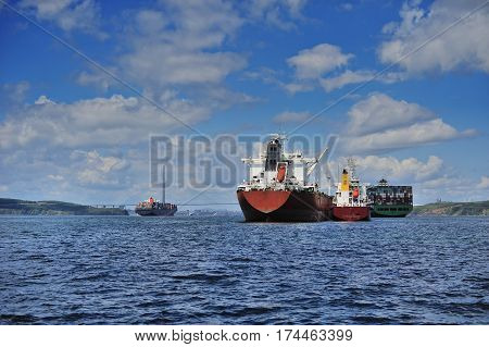 a large ship anchored in Peter the Great Bay in Vladivostok Russia