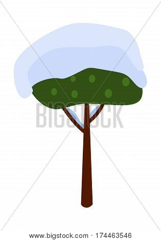 Nice green tree covered with snow on white background vector illustration. Brown thin trunk is as support. Has two long branches and many green fruits, orbed kind of tree isolated part of picture.