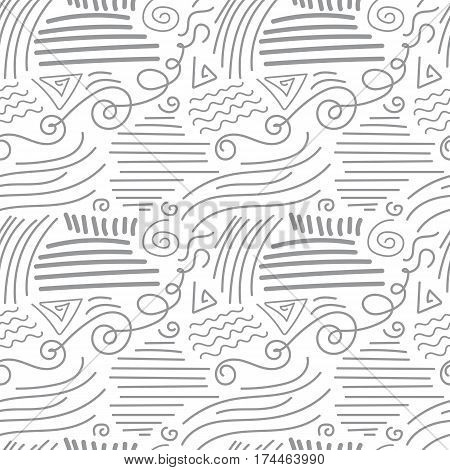 Abstract Monochrome Seamless Pattern with Curved Lines and Strokes