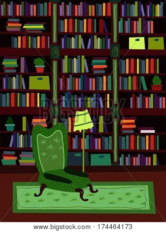 Cartoon Flat interior library room or office psychologist vector illustration. A set of furniture. The design of the room for reading and peace of mind. A comfortable chair, plenty of books, shelve