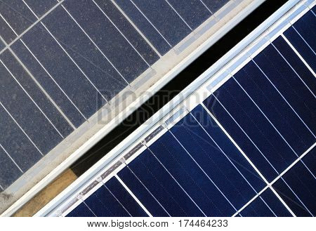 Dirty versus Clean Photovoltaic Panels Top View