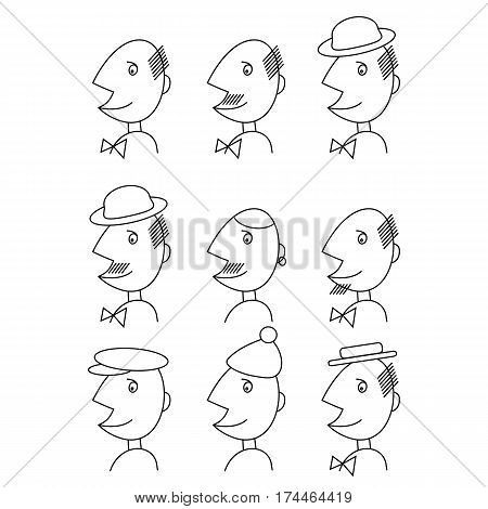 Vector Male Face Logo Set in Linear Style. Comic cartoon illustration