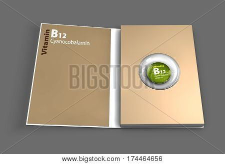 Mockup book of B12 vitamin. 3D Illustration