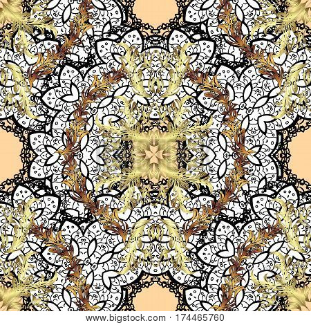Seamless classic vector golden pattern. Floral ornament brocade textile pattern glass metal with floral pattern on beige background with golden elements.