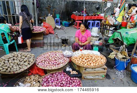 Street Market In Yangon, Myanmar