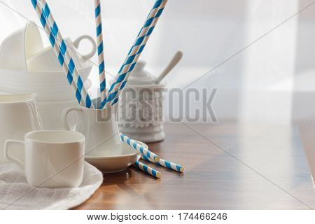 Set Of White Empty Tableware On The Wooden Background