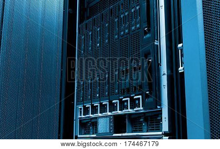 Blade server close-up in series of mainframes in data center