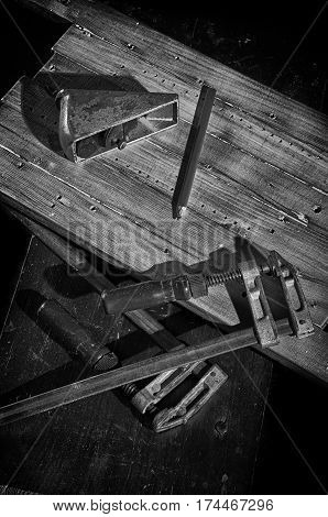 Joiner's tools, planer, clamps, pencil, boards .