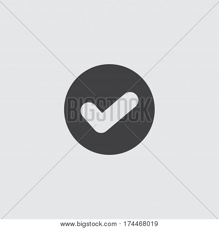 Checkmark icon in a flat design in black color. Vector illustration eps10