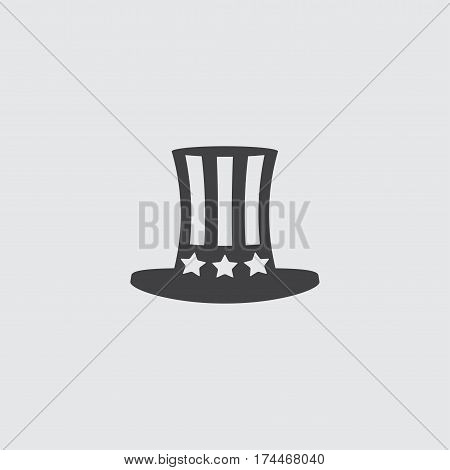 Uncle Sam's hat icon in a flat design in black color. Vector illustration eps10