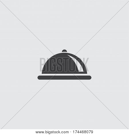 Restaurant cloche icon in a flat design in black color. Vector illustration eps10