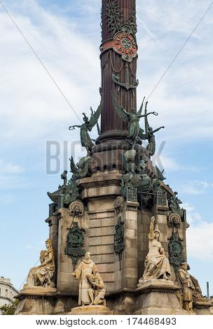 Famous column of Columbus at the foot of La Rambla in Barcelona Spain