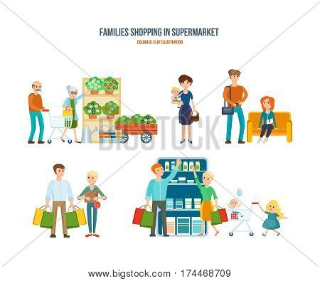 Families shopping in supermarket concept. Walking in shopping center, leisure, weekdays, the procurement of goods, entertainment children, people receive a good mood. Colorful flat illustration.
