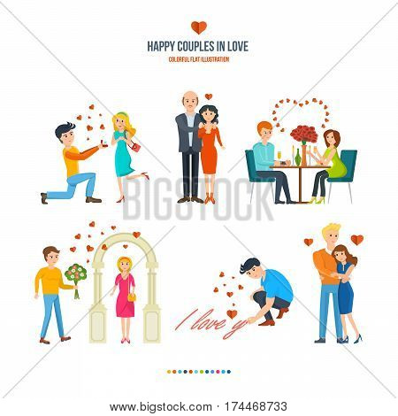 Happy couples in love concept. Man proposes to girl, man buys his wife a necklace, pair of the restaurant, near the arch of surprise, declaration of love and warm embrace. Valentine's Day