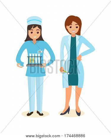 Medicine set with doctors and nurses concept. The doctor and the therapist standing beside nurse with analysis and research in the hands. Vector illustration isolated on white background.