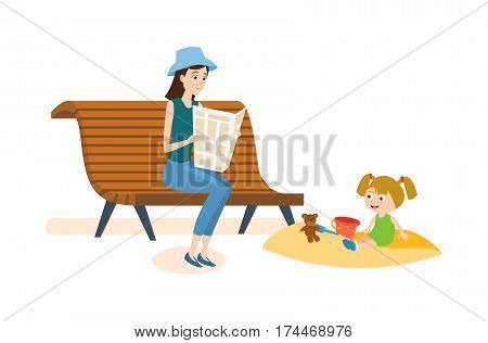 Kids on the playground concept. Mom walks in the park with her daughter and reading a newspaper on a bench, which plays in the sandbox. Vector illustration isolated on white background.