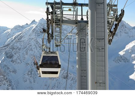 Mountain lift to Elbrus North Caucasus.Against snowy mountain peaks.