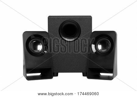 Computer speakers with subwoofer isolated on white