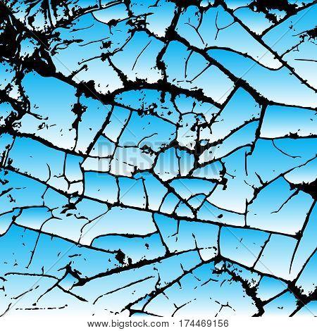 Blue cracking texture. Grunge background. Pattern with cracks. Vector illustration.
