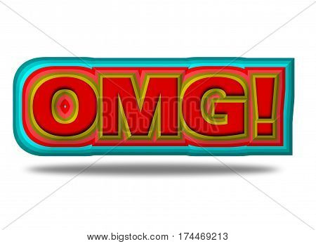 OMG word in red isolated on white.