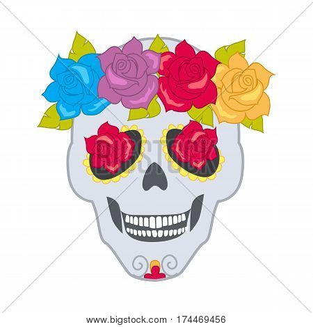 Human skull and flower wreath. Illustration of isolated cranium decorated with blossoms on white. Colourful roses with leaves. Flowers instead of eyes. Cartoon design. Patch. Flat style. Vector