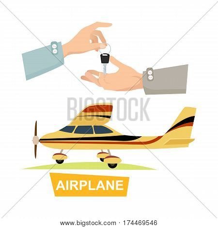 Airpane and hand passing key vector in flat style. Process of buying or renting airplane. Illustration of giving key and isolated yellow plane on white. Sales agreement marketing in cartoon design.