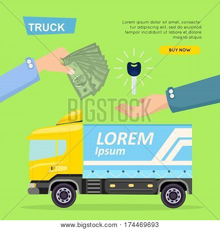 Buying truck online car sale web banner. Encouraging people to buy car. Transport advertising company, e-commerce concept vector illustration. Business agreement getting new keys of truck.
