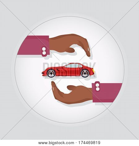 Red modern fast sports car in two carefull hands vector illustration. New luxurious and special design for car lover, best insurance logo. Car protection advertisement automobile service logotype