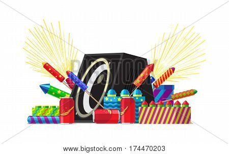 Fireworks for festival and party salute elements. Set of different kinds of amazing fireworks. Vector illustration for celebration of any occasions with pyrotechnic devices, acoustic system speaker