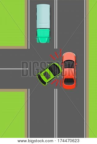 Clash of cars on T-Junction flat vector illustration. Road rules violations example on top view diagram. Traffic offences concept. Car crash and car accident. For insurance company, driving courses ad