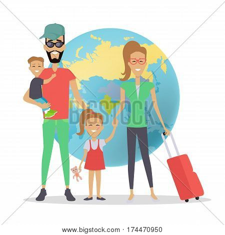 Happy family trip traveling concept. Family vacation. Parents with their children going for summer vacations. People on background of globe. Family on vacation. Ready to travel. Summer holiday.